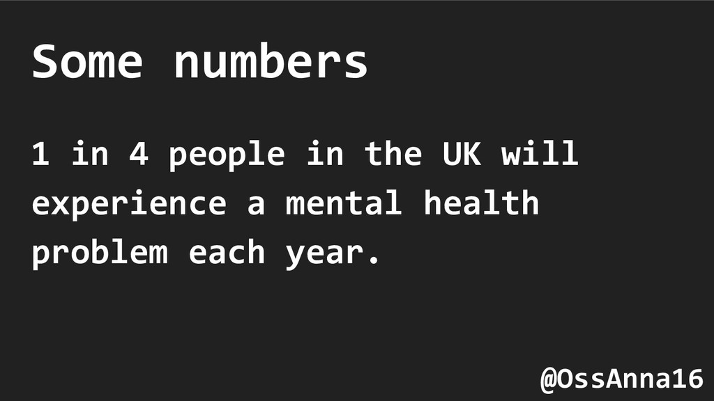 Some numbers 1 in 4 people in the UK will exper...