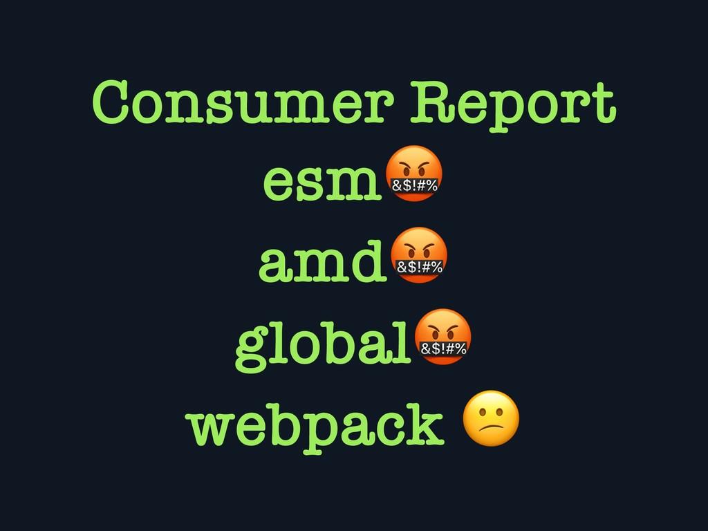 Consumer Report esm amd global webpack