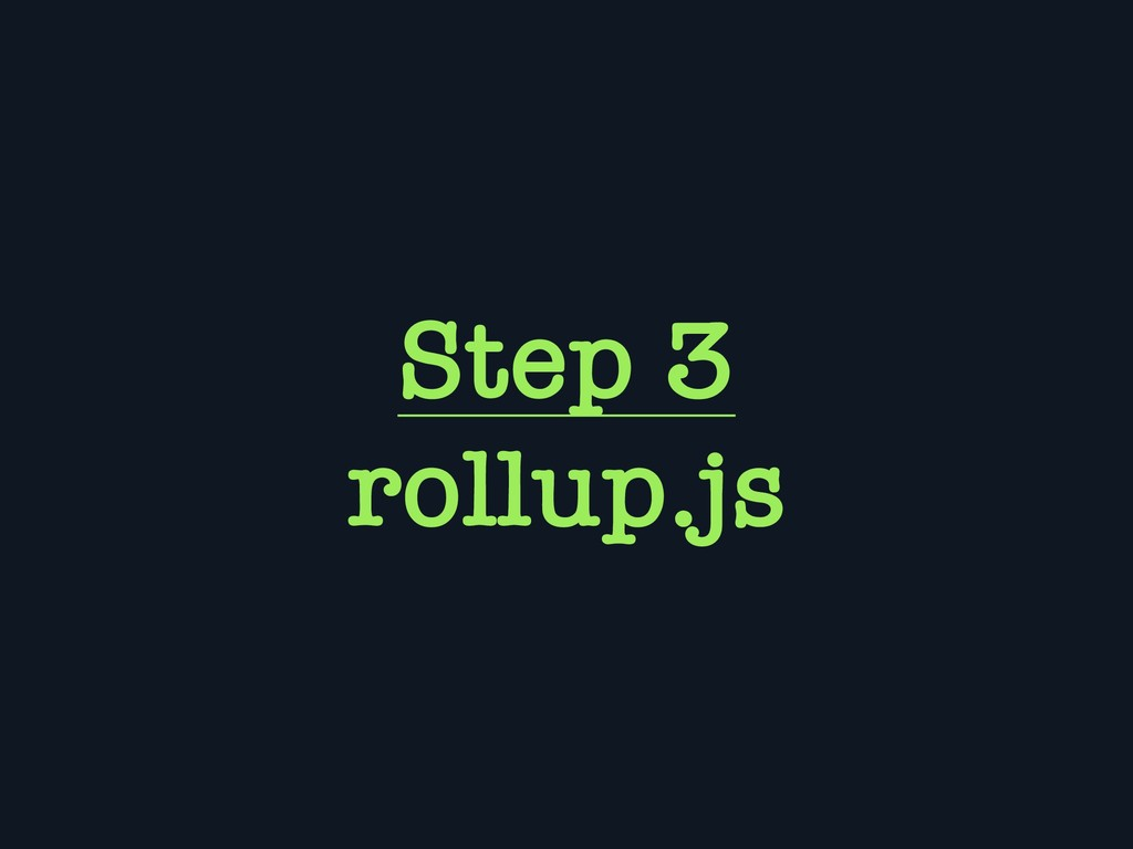 Step 3 rollup.js
