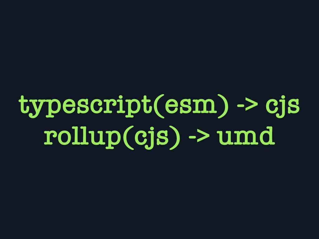 typescript(esm) -> cjs rollup(cjs) -> umd