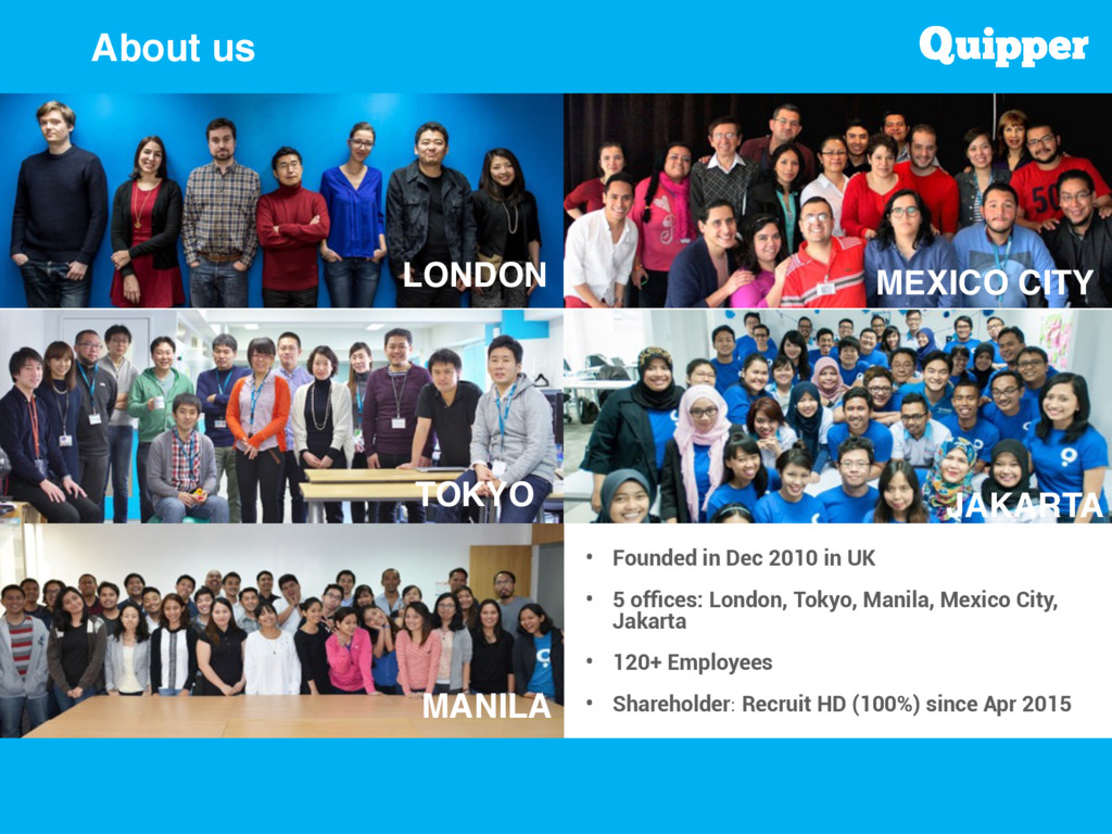 About us • Founded in Dec 2010 in UK  • 5 offic...