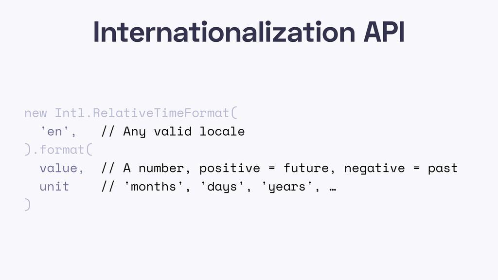Internationalization API new Intl.RelativeTimeF...