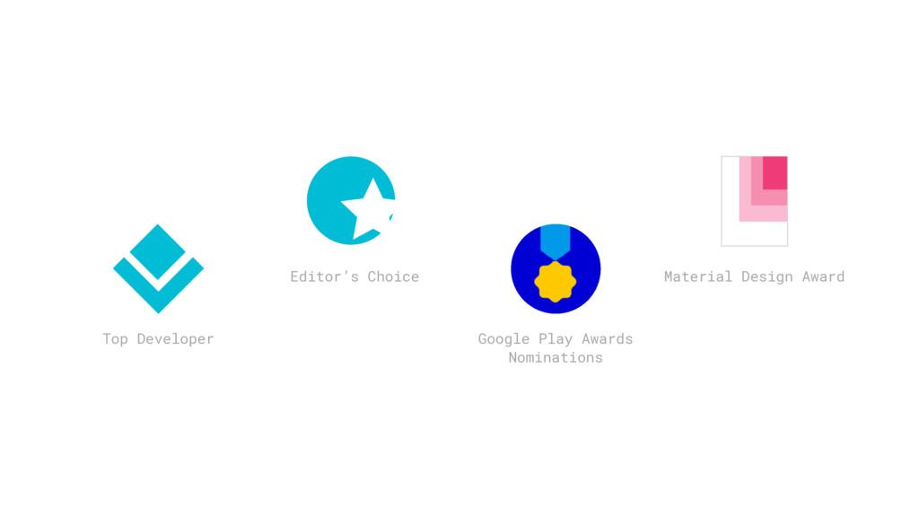 Top Developer Editor's Choice Google Play Award...