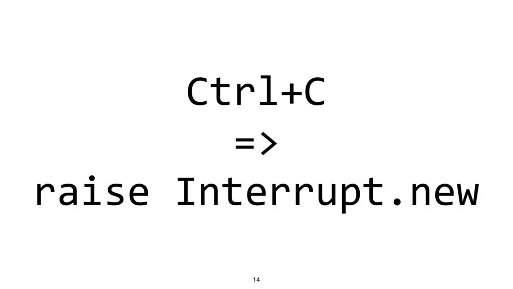 Ctrl+C => raise Interrupt.new 14