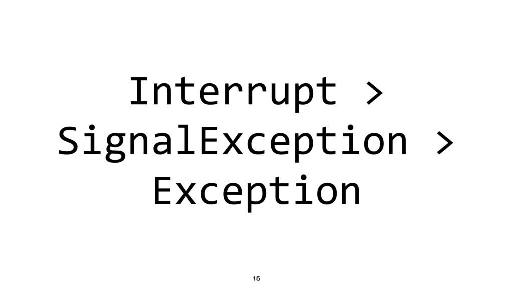 Interrupt > SignalException > Exception 15