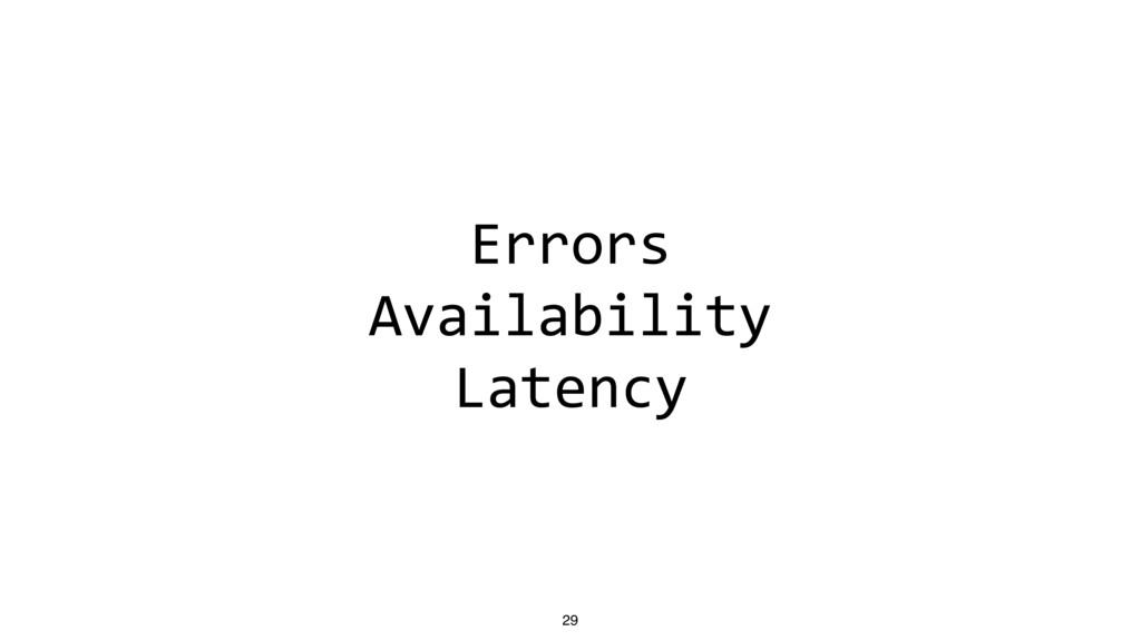 Errors Availability Latency 29
