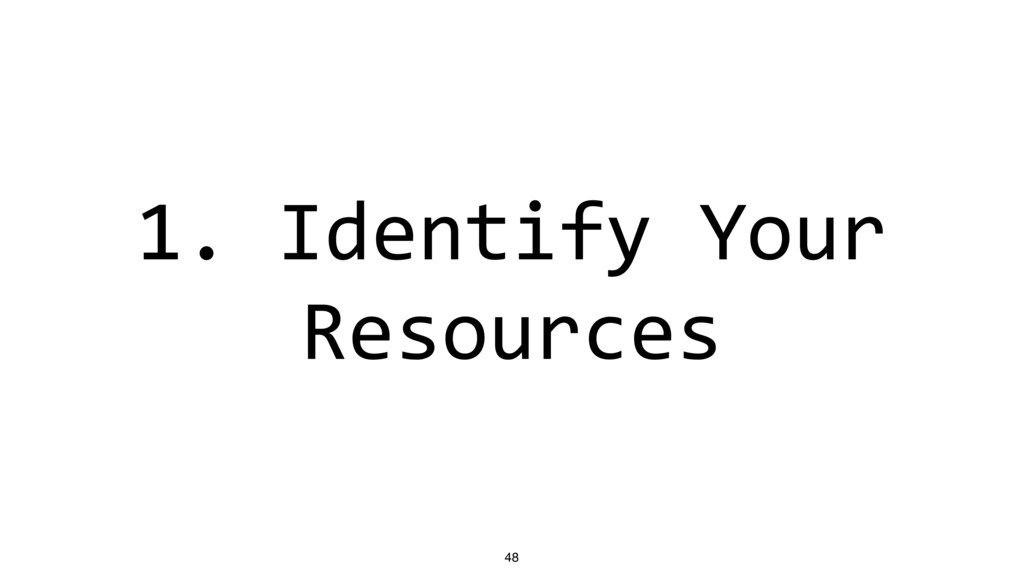 1. Identify Your Resources 48