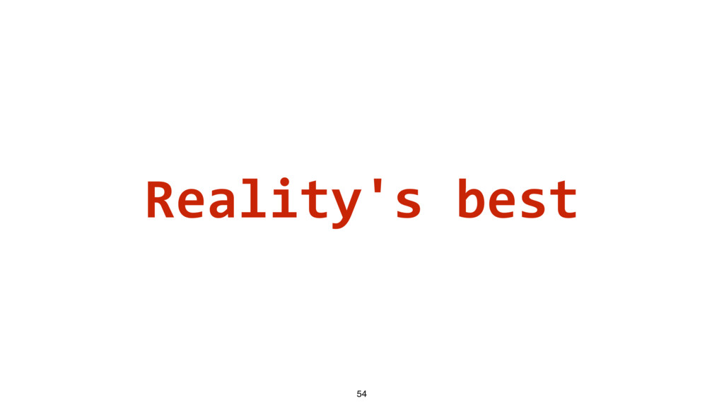 Reality's best 54