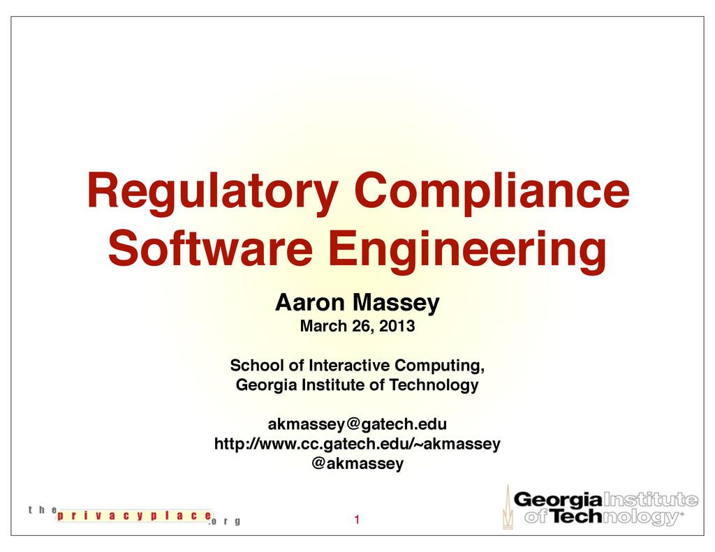 Regulatory Compliance Software Engineering Aaro...