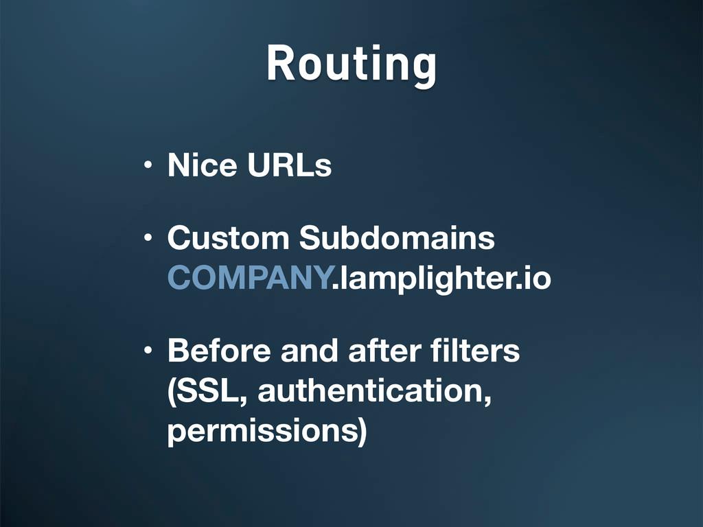 • Nice URLs • Custom Subdomains COMPANY.lamplig...
