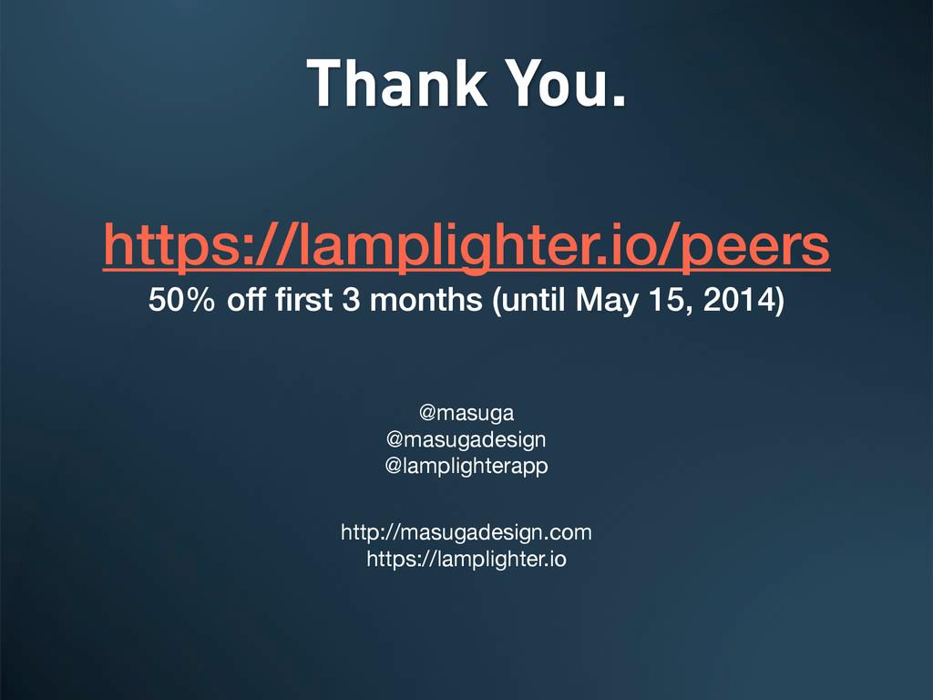 Thank You. https://lamplighter.io/peers 50% off...