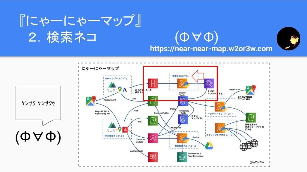 『にゃーにゃーマップ』  2.検索ネコ (Ф∀Ф) https://near-near-map...
