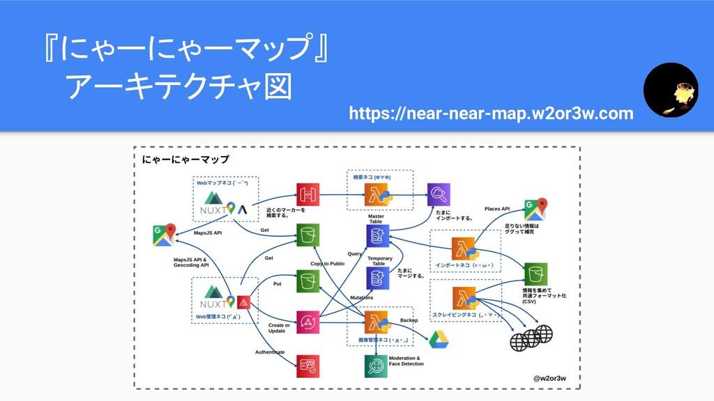 『にゃーにゃーマップ』  アーキテクチャ図 https://near-near-map.w2o...