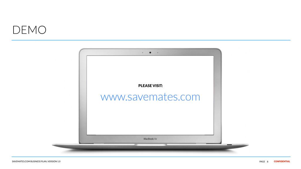CONFIDENTIAL SAVEMATES.COM BUSINESS PLAN, VERSI...