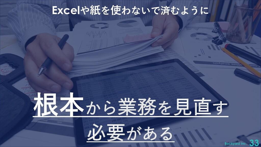 Backyard Inc. 33 Excelや紙を使わないで済むように 根本から業務を⾒直す ...