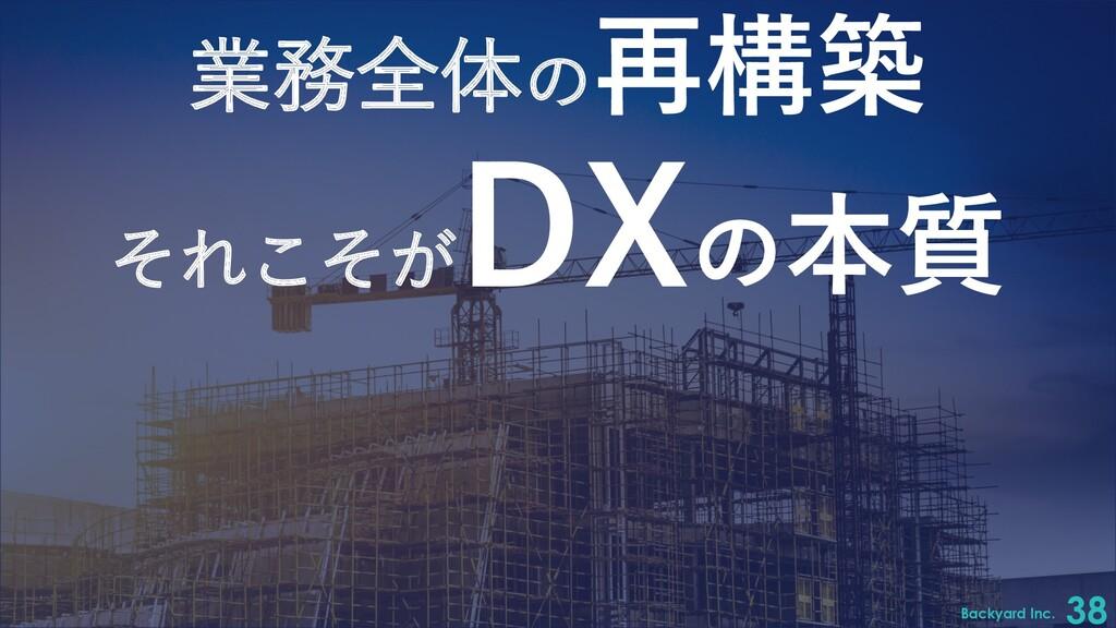 Backyard Inc. 38 業務全体の再構築 それこそが DXの本質