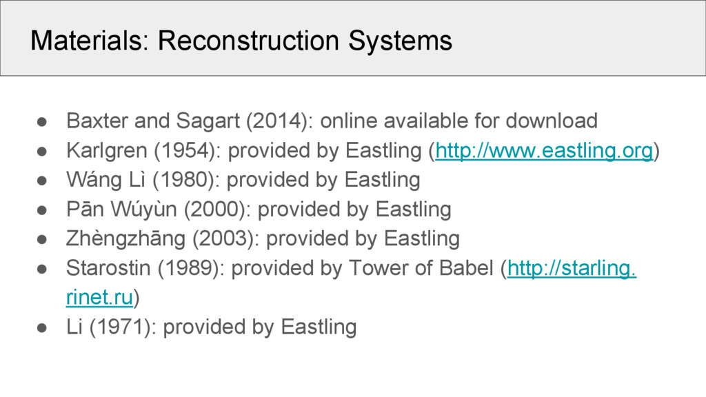 Materials: Reconstruction Systems ● Baxter and ...