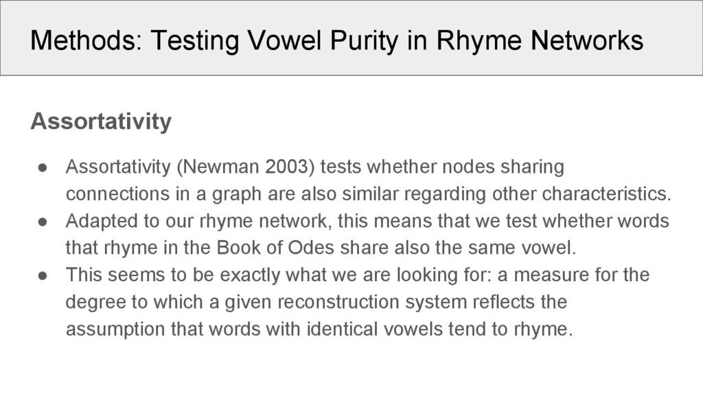 Methods: Testing Vowel Purity in Rhyme Networks...