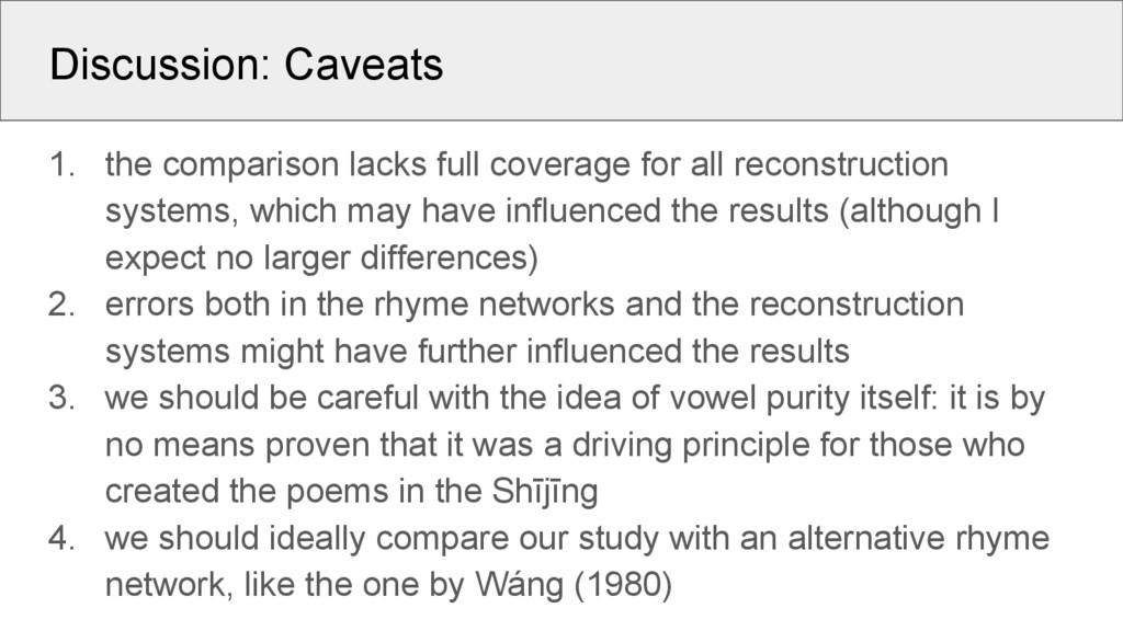 Discussion: Caveats 1. the comparison lacks ful...