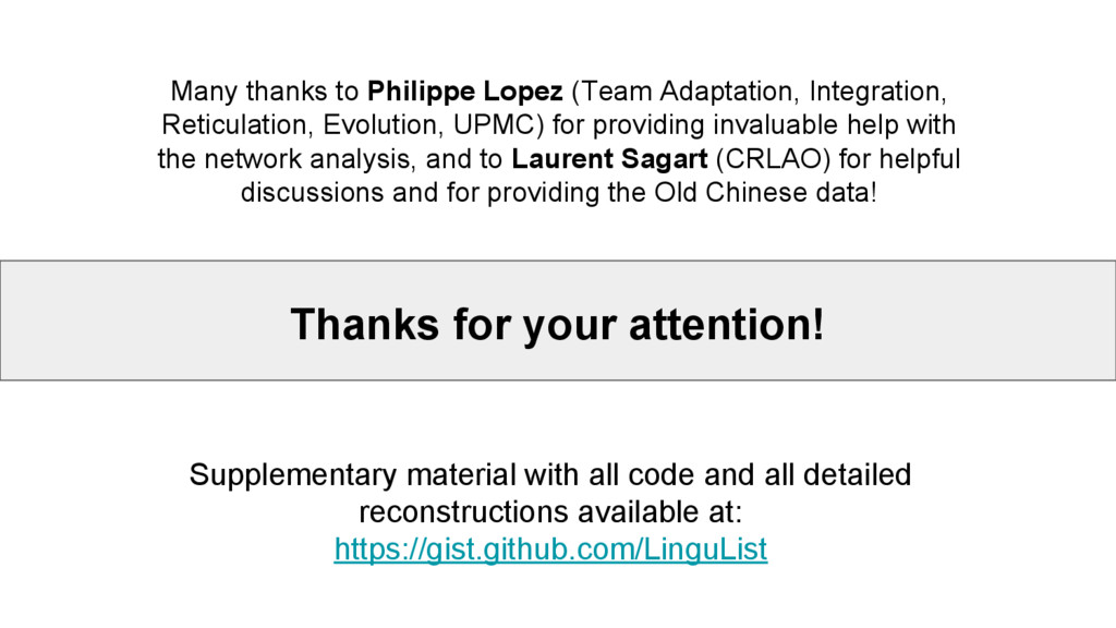 Thanks for your attention! Many thanks to Phili...