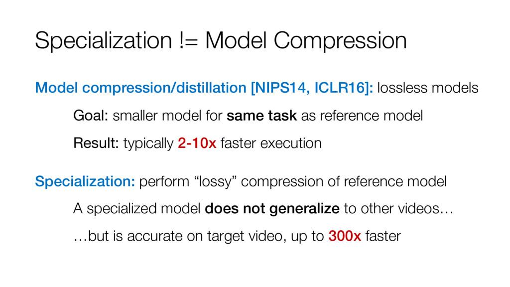 Specialization != Model Compression Model compr...