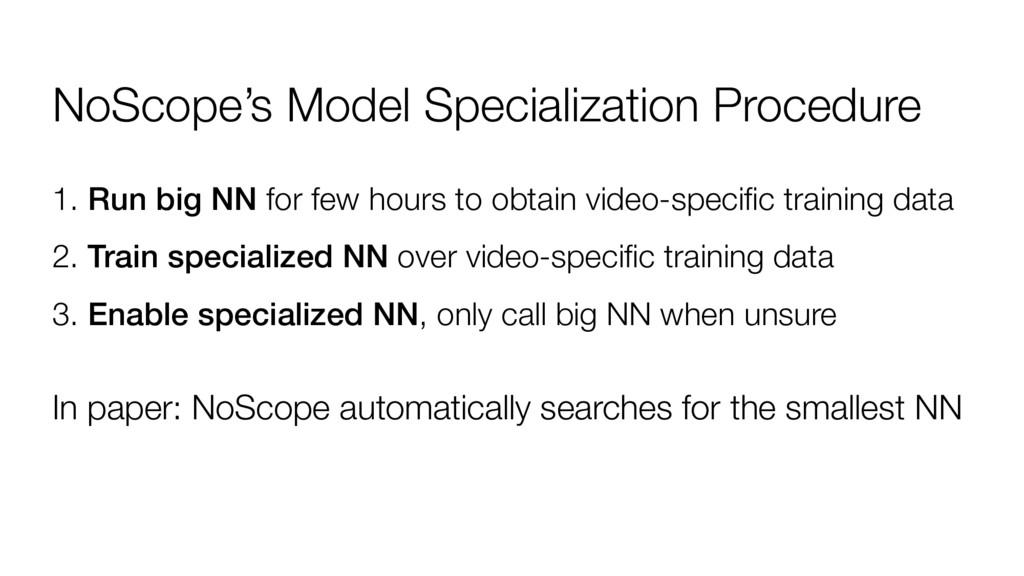 NoScope's Model Specialization Procedure 1. Run...