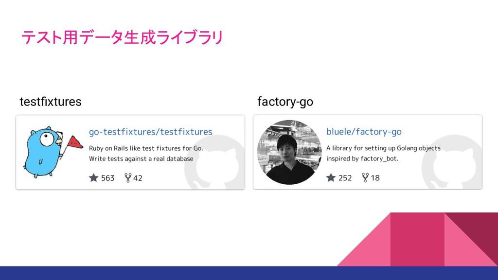 テスト用データ生成ライブラリ testfixtures factory-go