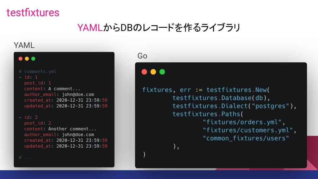 testfixtures Go YAML YAMLからDBのレコードを作るライブラリ