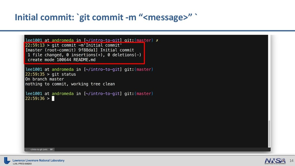 LLNL-PRES-698283 14 Initial commit: `git commit...