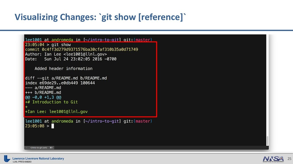 LLNL-PRES-698283 25 Visualizing Changes: `git s...