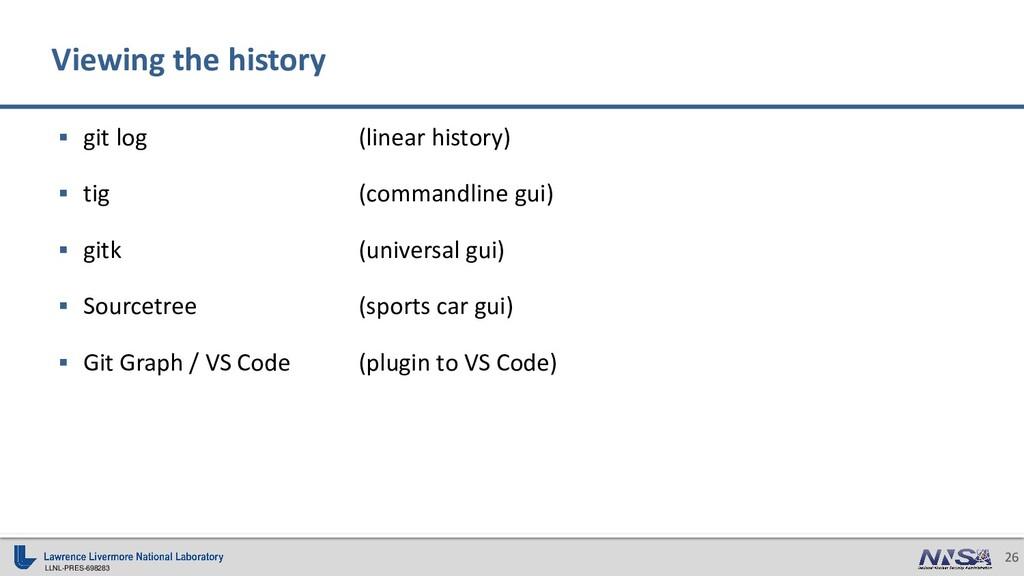 LLNL-PRES-698283 26 ▪ git log (linear history) ...