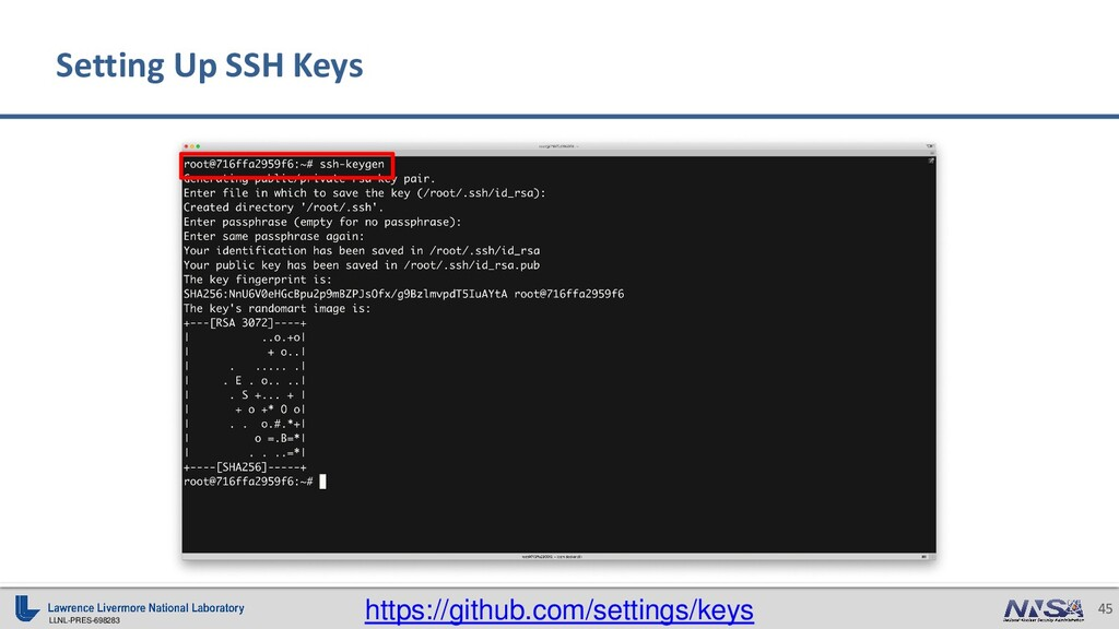 LLNL-PRES-698283 45 Setting Up SSH Keys https:/...