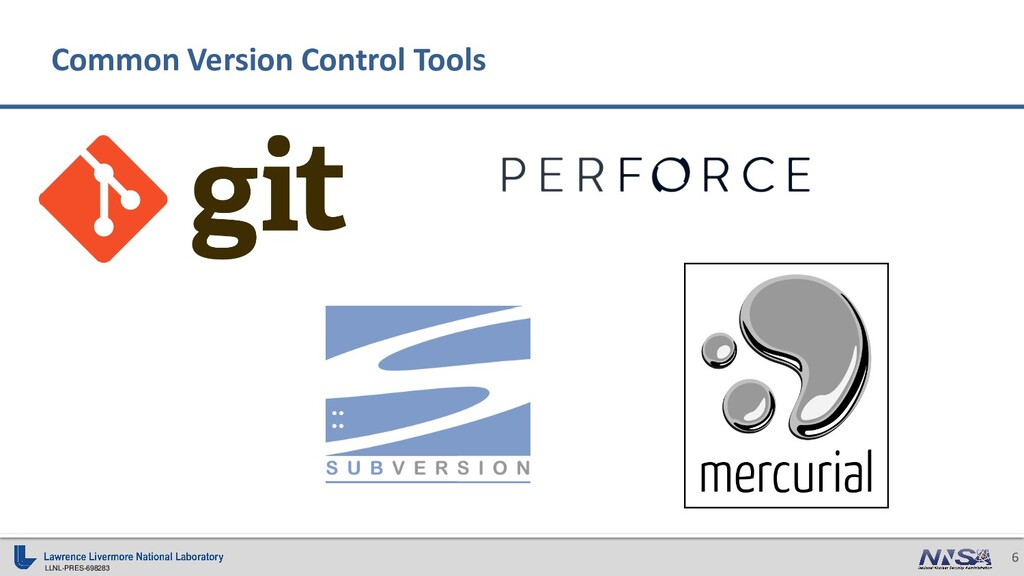LLNL-PRES-698283 6 Common Version Control Tools