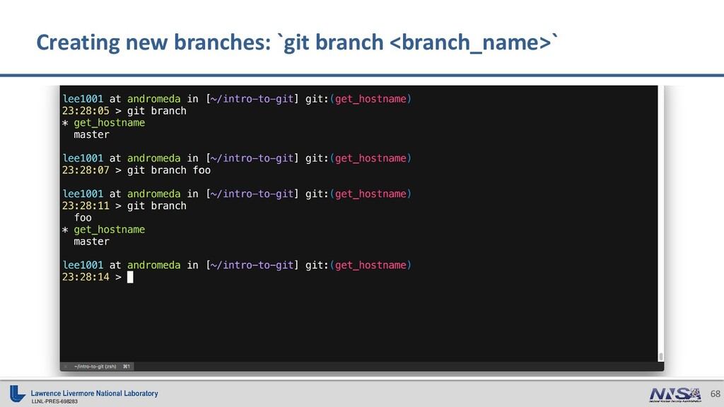 LLNL-PRES-698283 68 Creating new branches: `git...