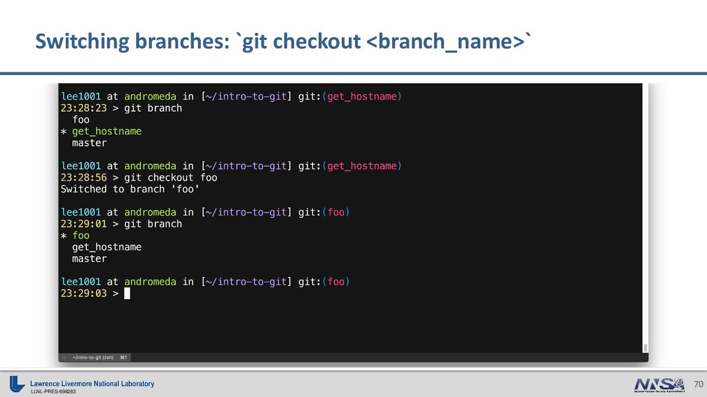 LLNL-PRES-698283 70 Switching branches: `git ch...