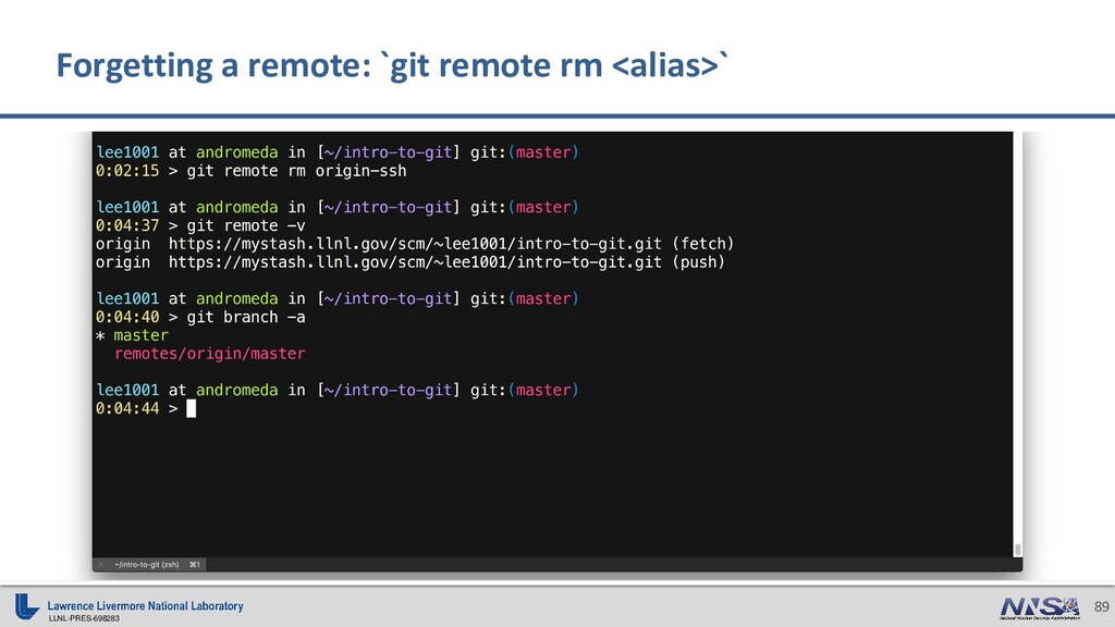 LLNL-PRES-698283 89 Forgetting a remote: `git r...