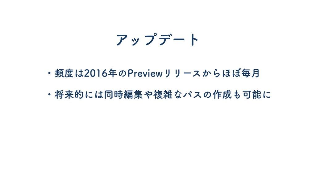 ・頻度は2016年のPreviewリリースからほぼ毎月 ・将来的には同時編集や複雑なパスの作成...