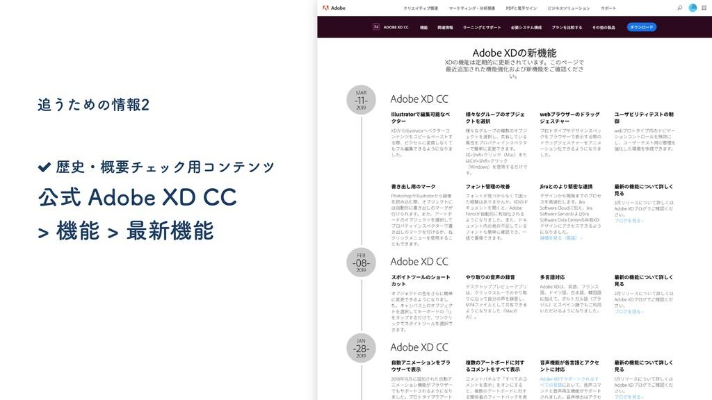 公式 Adobe XD CC > 機能 > 最新機能 追うための情報2 歴史・概要チェック用コ...