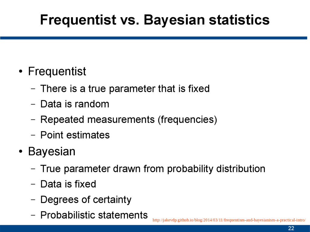 22 Frequentist vs. Bayesian statistics ● Freque...
