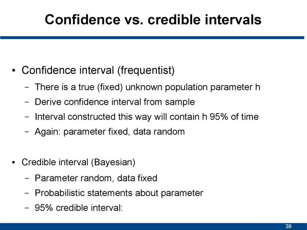 39 Confidence vs. credible intervals ● Confiden...