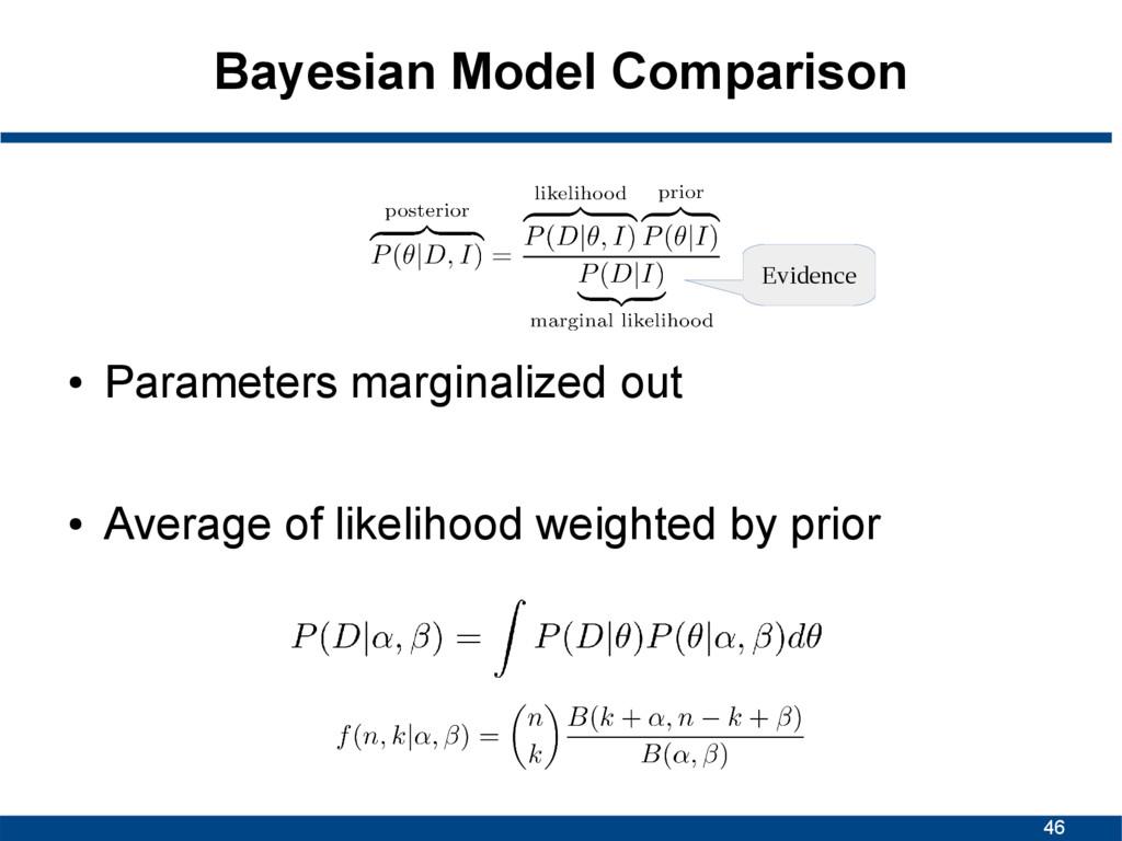 46 Bayesian Model Comparison ● Parameters margi...
