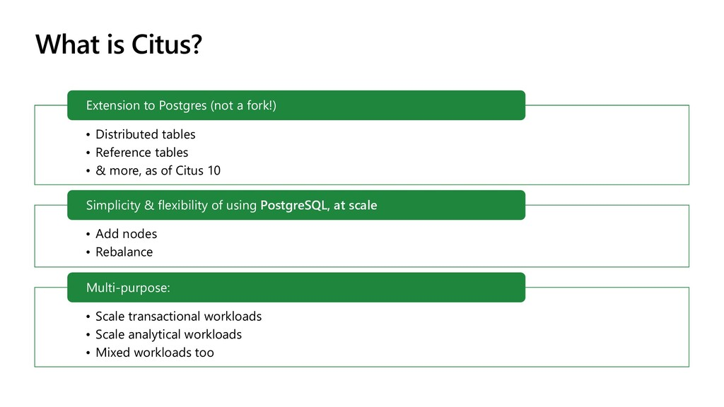 What is Citus? • Distributed tables • Reference...