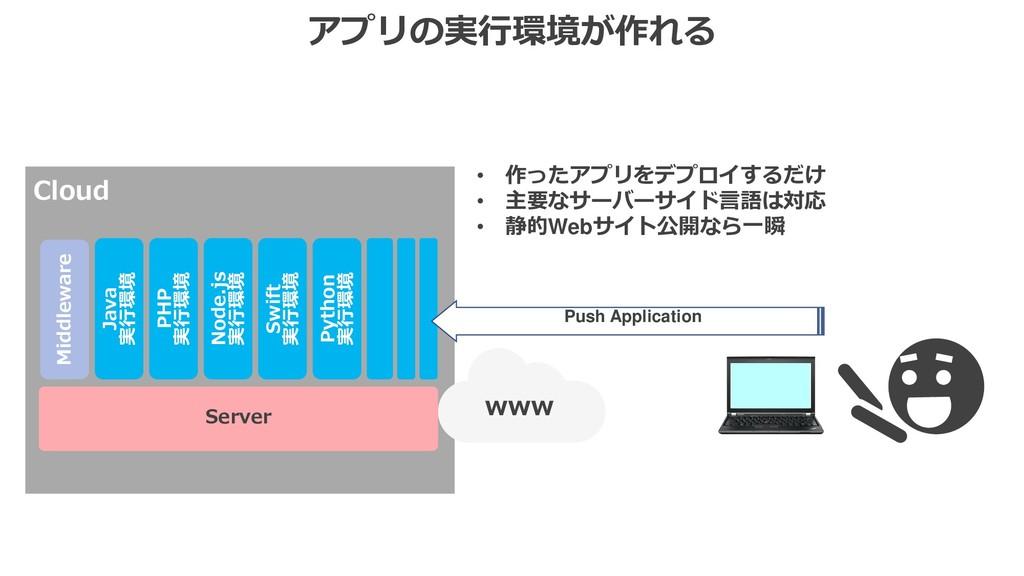 アプリの実行環境が作れる Server Cloud www Middleware Java 実...
