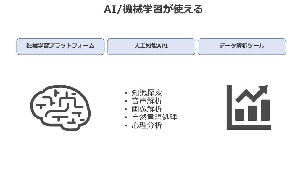 AI/機械学習が使える 機械学習プラットフォーム 人工知能API データ解析ツール • 知識探...