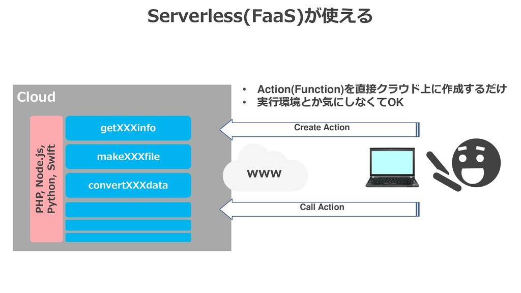 Serverless(FaaS)が使える Cloud www getXXXinfo Creat...