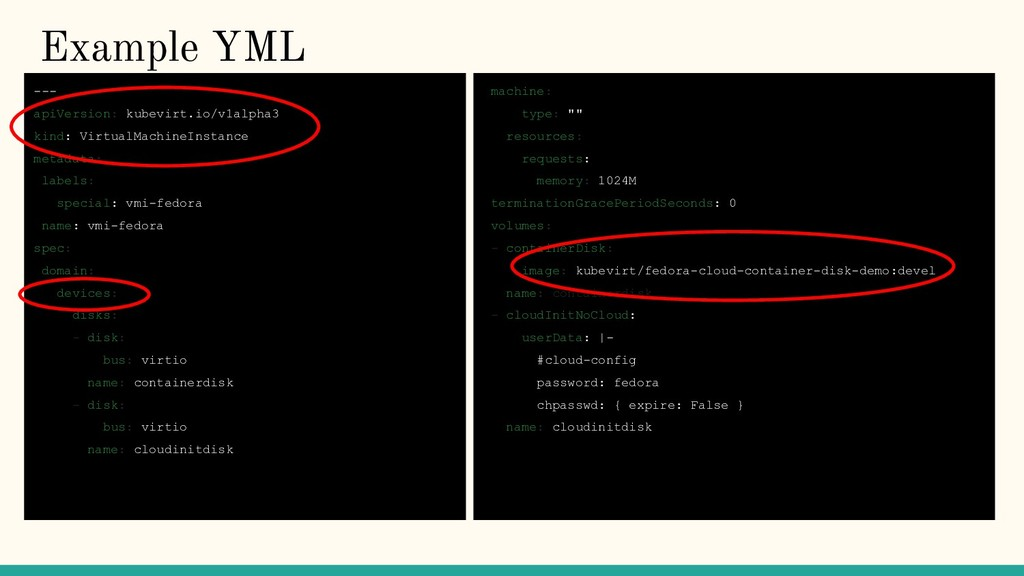 Example YML --- apiVersion: kubevirt.io/v1alpha...