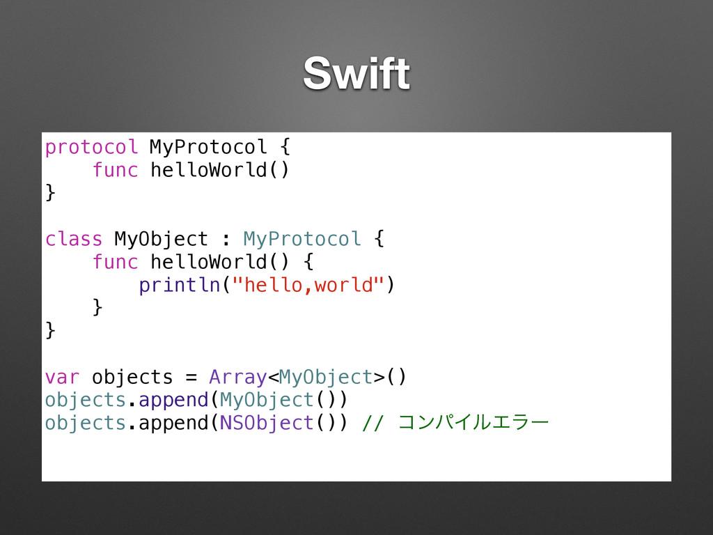 Swift protocol MyProtocol { func helloWorld() }...