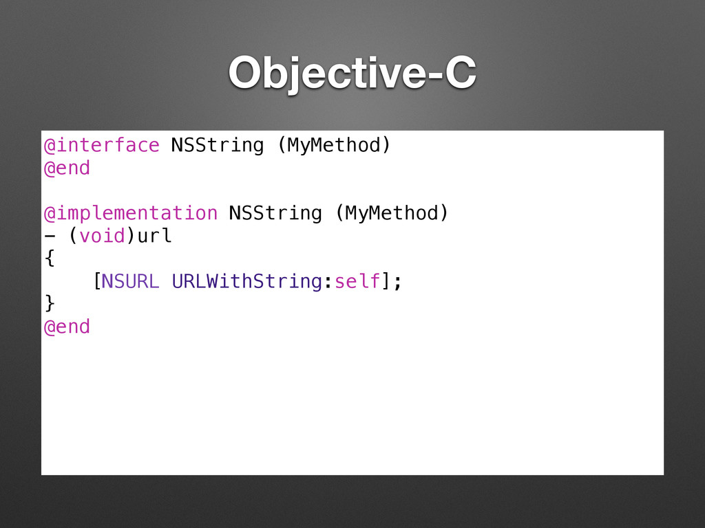 Objective-C @interface NSString (MyMethod) @end...