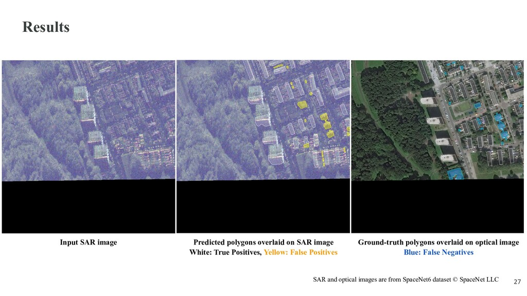 Results Input SAR image Predicted polygons over...