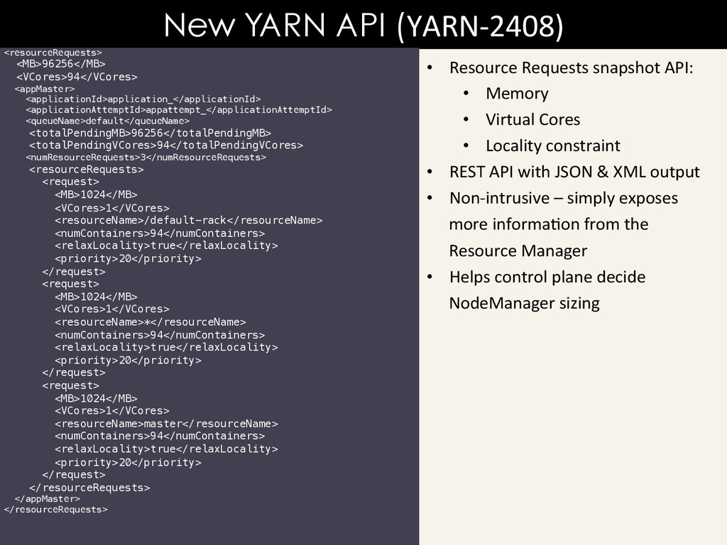 New YARN API (YARN-­‐2408) •  Resource	